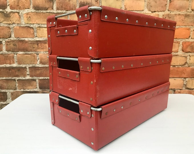 3er Set rote Kisten Boxen Vulkanfiber 45x25x13 cm