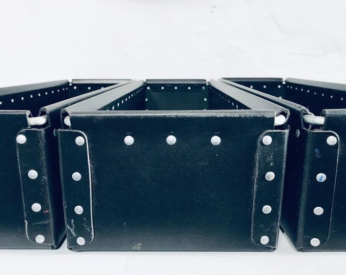 2er Set schmale lange Vulkanfiber Behälter schwarz