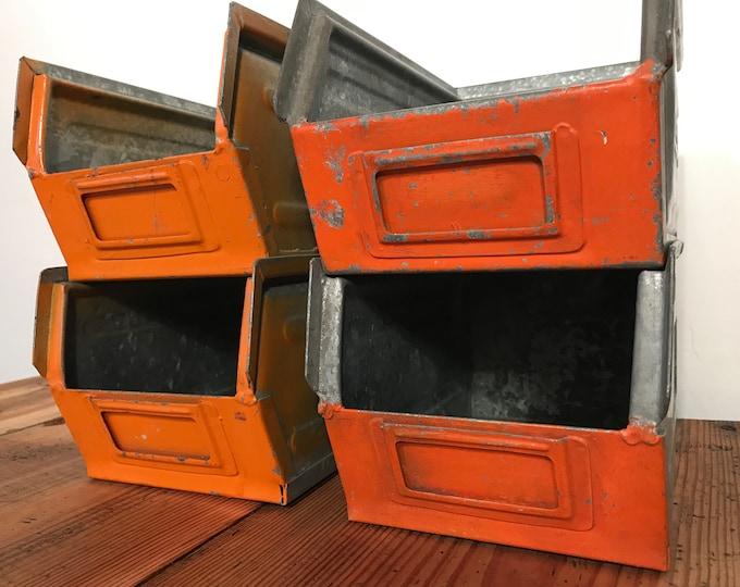 4er Set kleine Stapelboxen orange