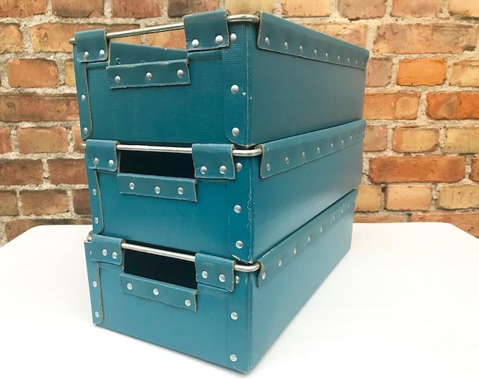 3er Set blaue Vulkanfiber Kisten