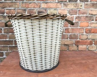Vintage laundry basket mid century white GDR basket with wooden handles and rattan