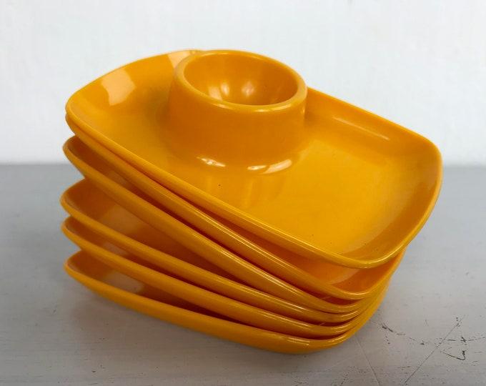 6er Set Vintage Eierbecher orange
