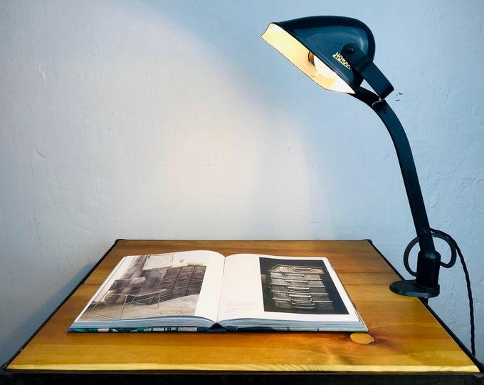 HORAX Banker Lamp Art Deco Desk Lamp Table Lamp Antique Clamp Lamp Enamel Lamp Dark Green