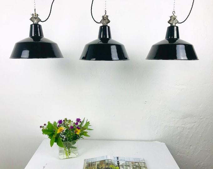 3er Set Emaillelampen schwarz