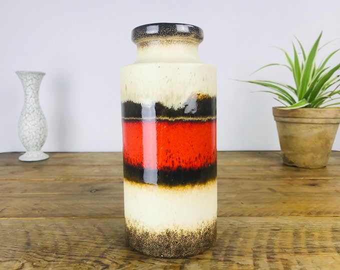 beige braun rote Vase SCHEURICH 22 cm