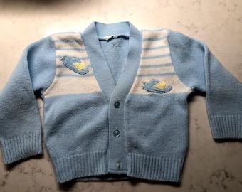 Retro Knit Baby Sweater Vintage Handknit size 2T 3T Toddler Hooded Sweater Vintage Toddler Jacket