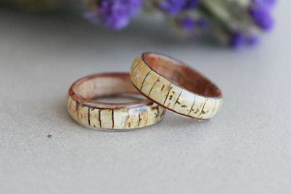 Nature Inspired Wooden Forest Botanical Terrarium Jewellery Rocky Mountain Mother Earth Wanderlust Hippie Wedding resin bark band rings