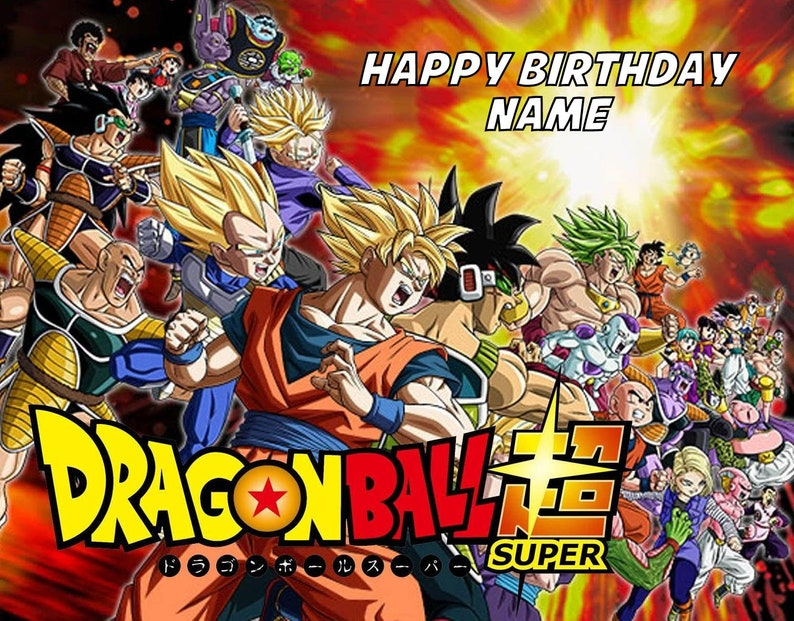 DRAGON BALL BIRTHDAY Party Frosting Cake Topper 1//4 sheet