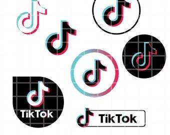 Tiktok Logo Pack Vector Tik Tok Tictok Svg Icons Tiktok Png Etsy