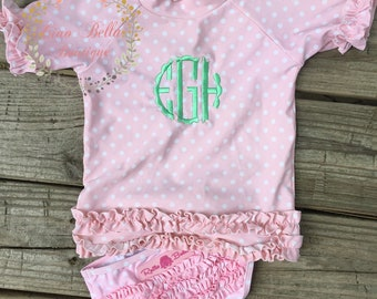 8eb789bf6fc Ruffle Butts Polka Dot Ruffled Rash Guard Bikink - Pink