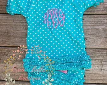 6eae1760b9a Ruffle Butts Polka Dot Ruffled Rash Guard Bikink - Aqua