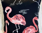14 x 14 Pink Flamingo Toss Pillow Cover Indoor Outdoor Use Patio Decor Chair Pillow Deck and Boat Throw Pillow Pink and Black Coastal