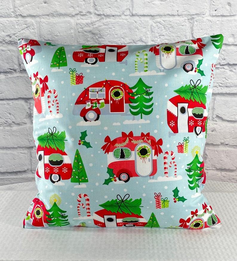Retro Holiday Travel Camper Throw Pillow Cover