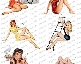Vintage Bombshell Pin-up Girls  - Waterslide Decal - Clear - READY TO USE - 89297 W