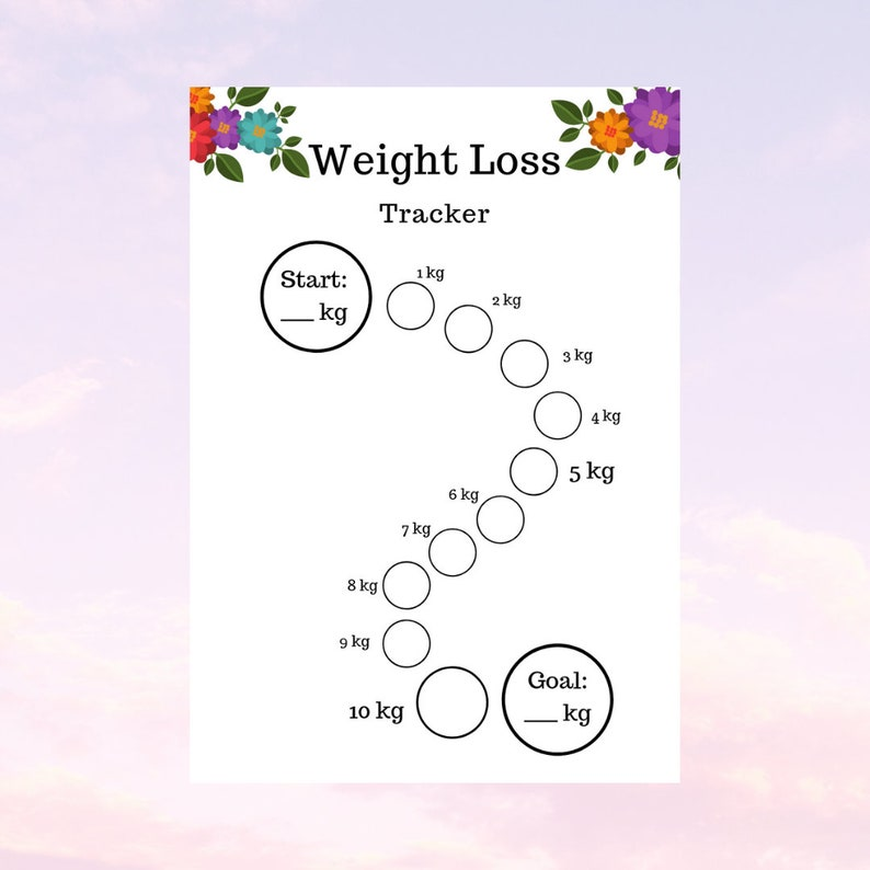 photo regarding Weight Loss Chart Printable called Bodyweight Decline Tracker 10kg / A4 8,5x11 Body weight Reduction Chart diet program chart Health and fitness center Drive bodyweight decline planner setting up down load printable pdf