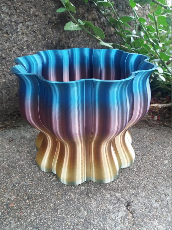 On pot shafts Slim Round Flower Pot 3D Effect Grey 7 Sizes With Trivet