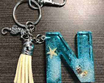 Beach Life Beach themed resin keychain Great gift Mothers day Gift Seashell Resin Ocean Keychain By the Shore Boat Keychain Nautical