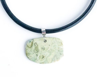 Natural Stone Pendant Necklace – leather choker OR stainless steel chain| bohemian style hippie necklace |  Canadian rock pendant jewellery