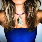 Natural Stone Pendant Necklace – Boho Style – Fabric or Leather Cord Necklace