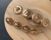 Bridal Baroque High Quality Luxury Medusa Engraved  Retro Coin HandMade Vintage Style Gold Hair Clips/Hair Coin Barrettes /Hair Jewellery