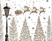 Paper napkins for decoupage, Sleigh above Trees, set of 2