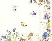 Paper Decoupage napkins, Easter Flowers, set of 2