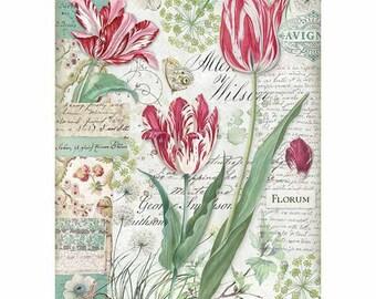 Papel 4x Servilletas Para Fiesta Decoupage Guirnalda Flores de primavera