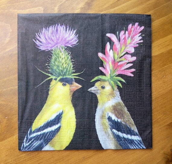 "Vicki Sawyer Birds Wearing Hats /""Goldfinch Couple/"" Luncheon Napkins 20 Pack"