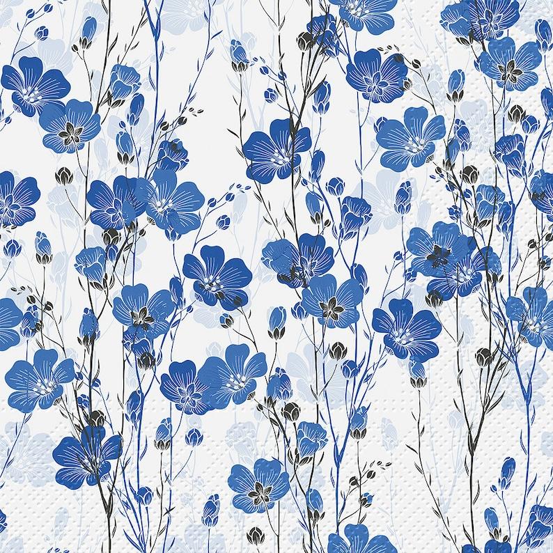 Paper Decoupage napkins set of 2 Flax Plant
