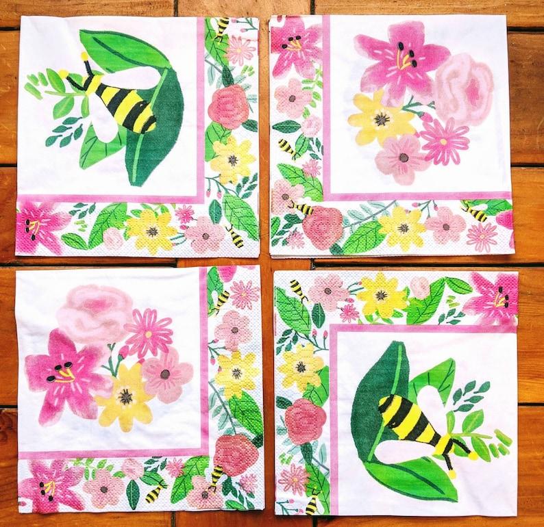Purple Flowers 4x Paper Napkins for Party Decoupage