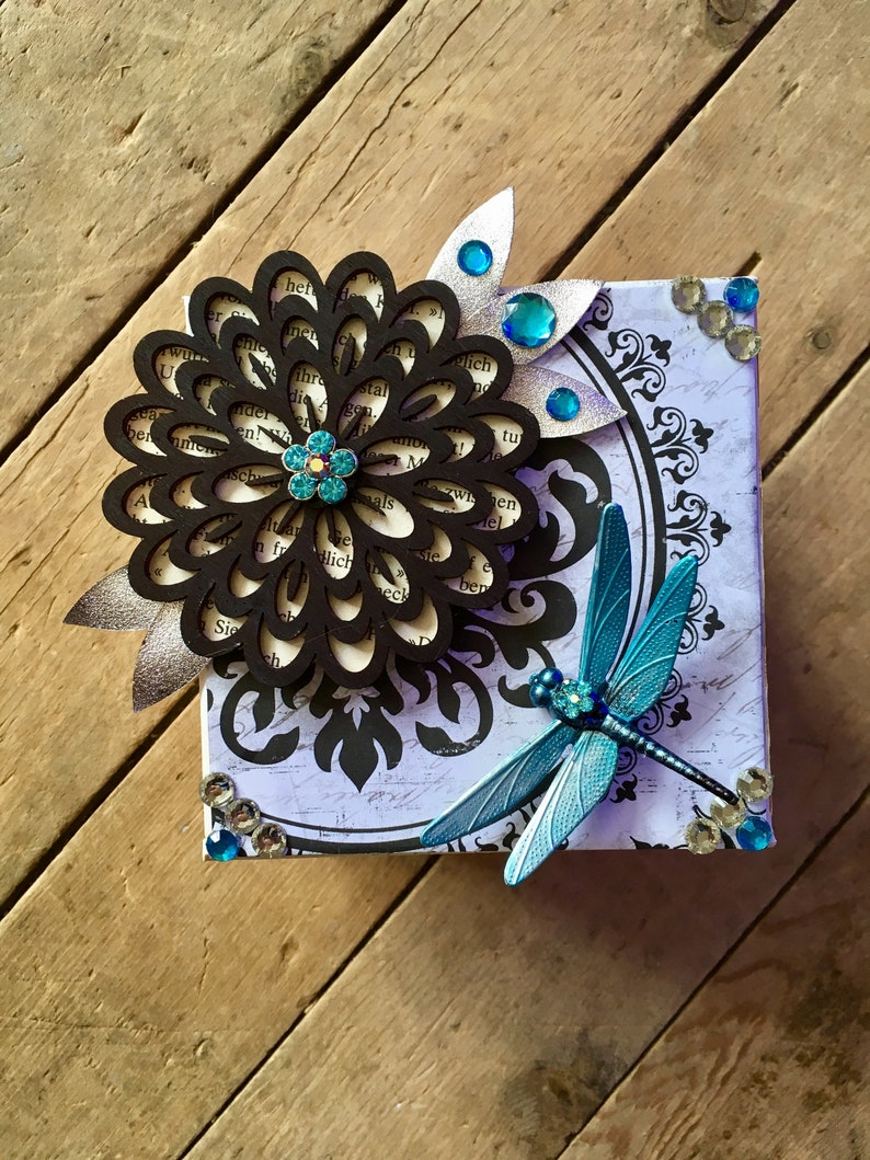 Upcycled dragonfly and flower keepsake jewellery box