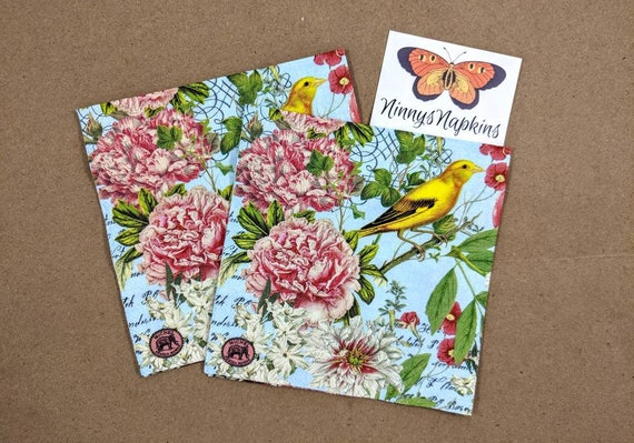4 Lunch Paper Napkins for Decoupage Craft Vintage Napkin Flowers Melody