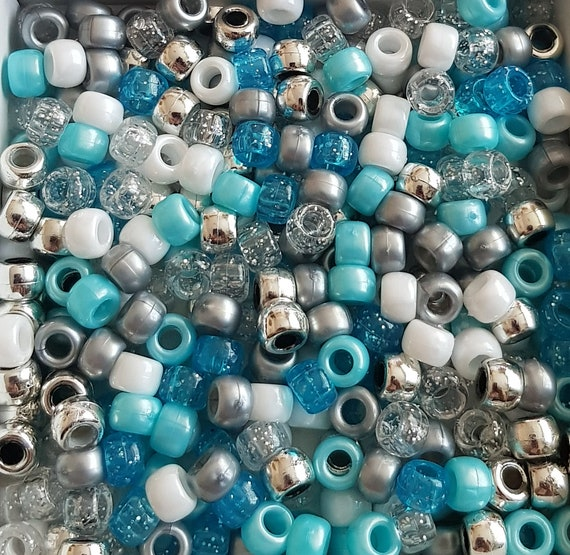 Ice Mix Blue Silver Ivory Glitter Pearl Pony Beads Dummy Clips 3 FOR 2