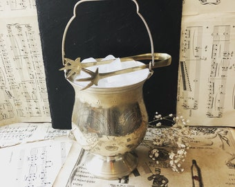 Elegant Stylish Vintage Silver Plated Etched Detail Ice Bucket / Folding Handle / Eagle Claw Foot Design Ice Tongs / Wine / Beer / EPNS
