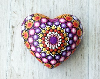 Painted Heart Rock - Meditation Stone - Dotted Mandala Rock - Gift for Her - Orange - Dotillism - Dot Painting - Paperweight