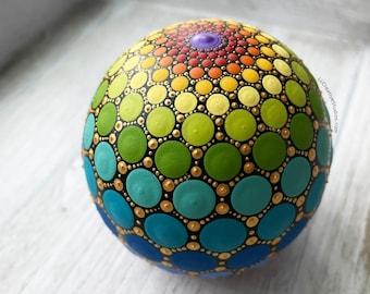 Hand Painted Rainbow Mandala Sphere