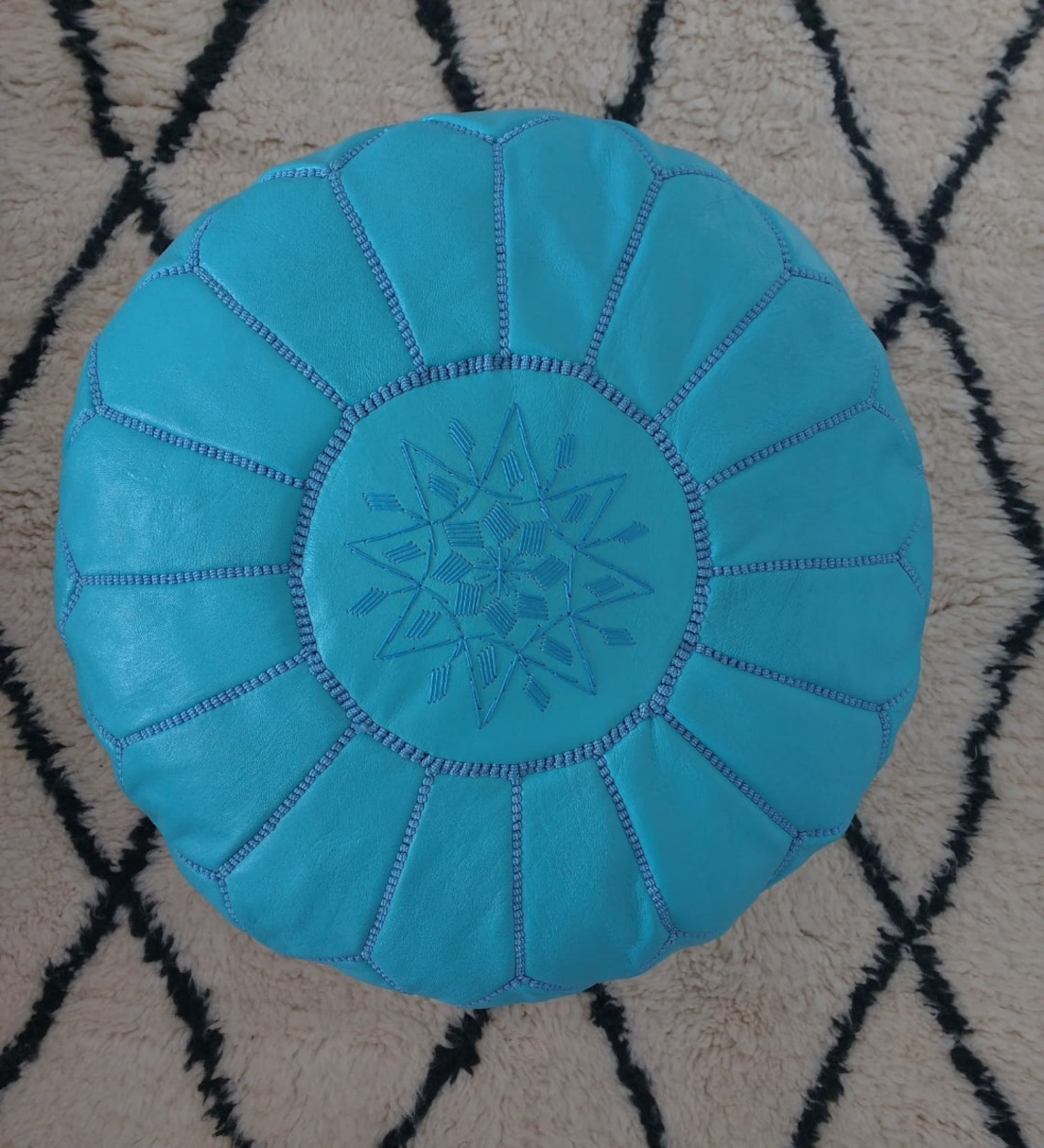 Morocco Leather pouf, blue turquoise decoration leather pouf, Living room leather removable footstool, Ottoman leather cushions, boho pouf