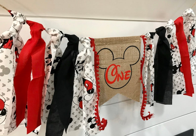 first birthday birthday shirt birthday outfit high chair banner Mickey Mouse first birthday first birthday decor