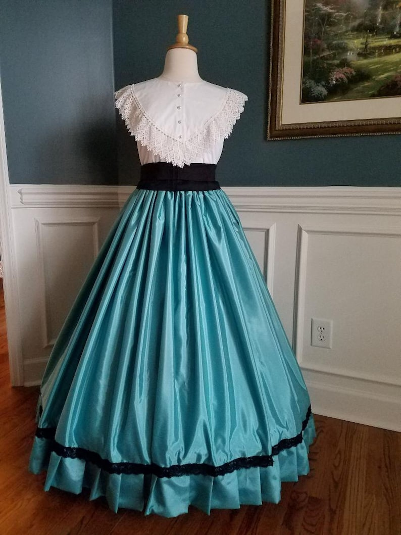 Victorian Skirts | Bustle, Walking, Edwardian Skirts Faille Taffeta Long Skirt with Ruffle and Lace Great for Cosplay and Historical Events One Size Fits Most $189.00 AT vintagedancer.com