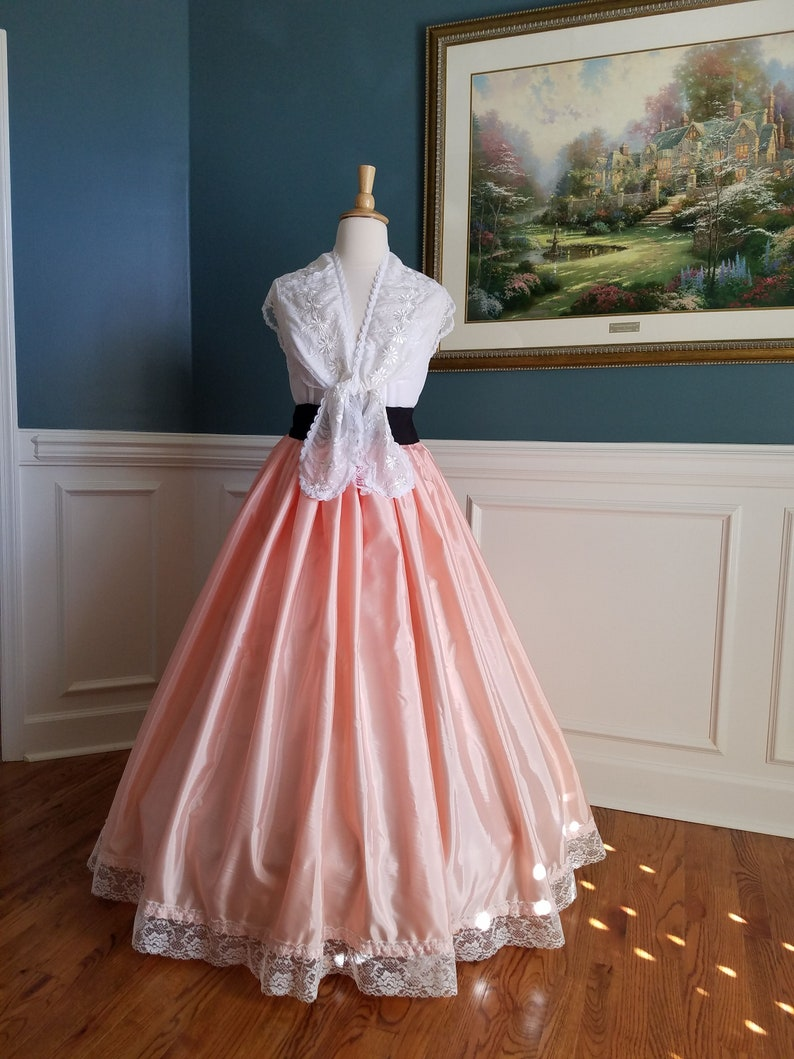 Victorian Costumes: Dresses, Saloon Girls, Southern Belle, Witch High Grade Taffeta Beautiful Coral Pink Long Skirt with Ruffle and Lace Great for Cosplay Historical Events Parties - One Size Fits Most $149.00 AT vintagedancer.com