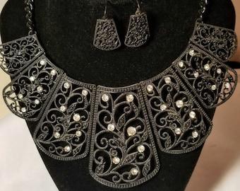 Black bib necklaces