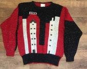 Vintage jumper sweater city scene sparkle 80s shoulder pads red black