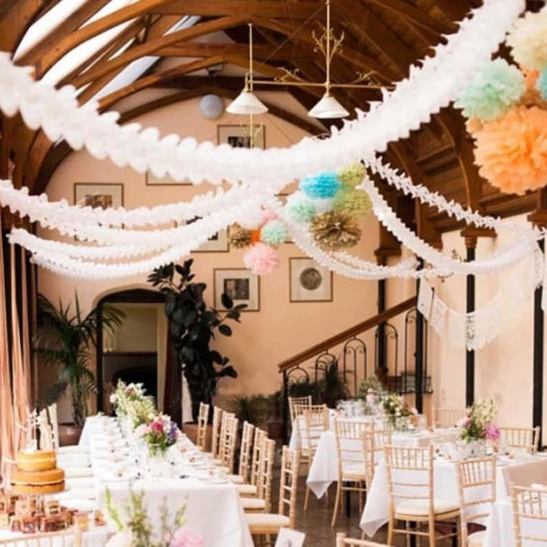 Wall Backdrop Assorted 4 Pack Mix of Hanging Tissue Paper Garlands celebrations Ceiling Table Decor wedding For birthday anniversary