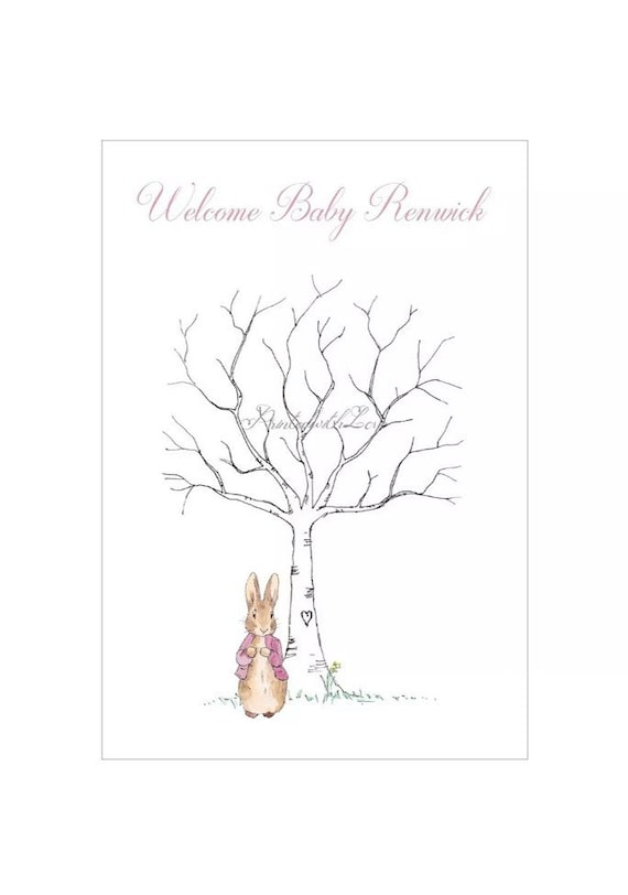 FINGER PRINT TREE Flopsy Bunny 'Guestbook Style' A4 PRINT-Baby Shower//Birthday