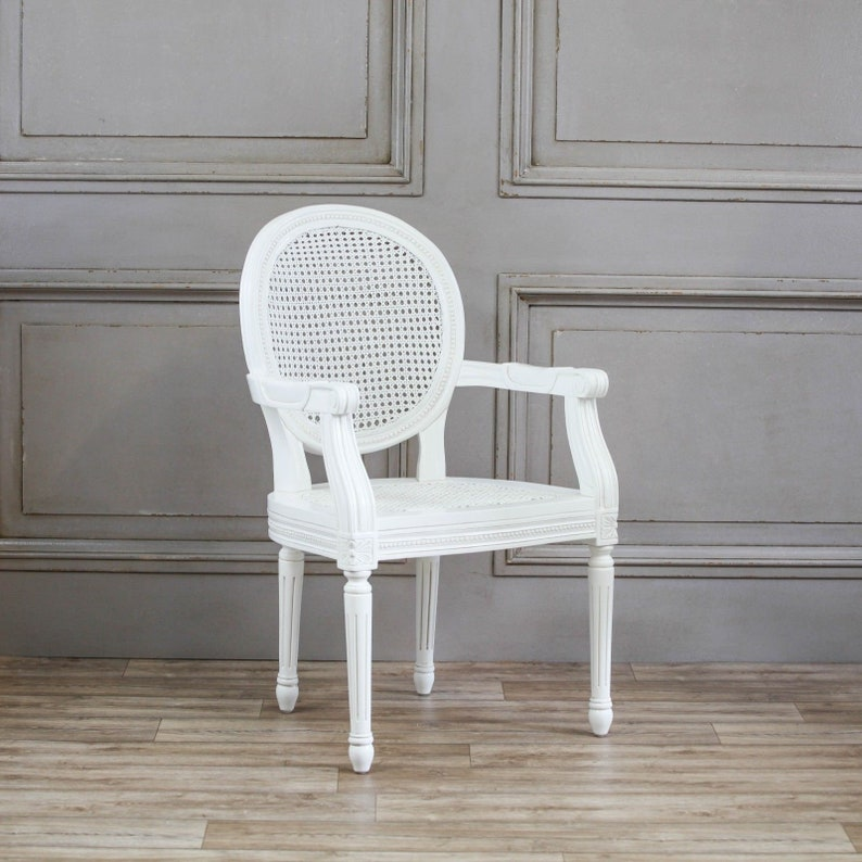 French Chateau White Rattan Carver Dining / Bedroom Chair