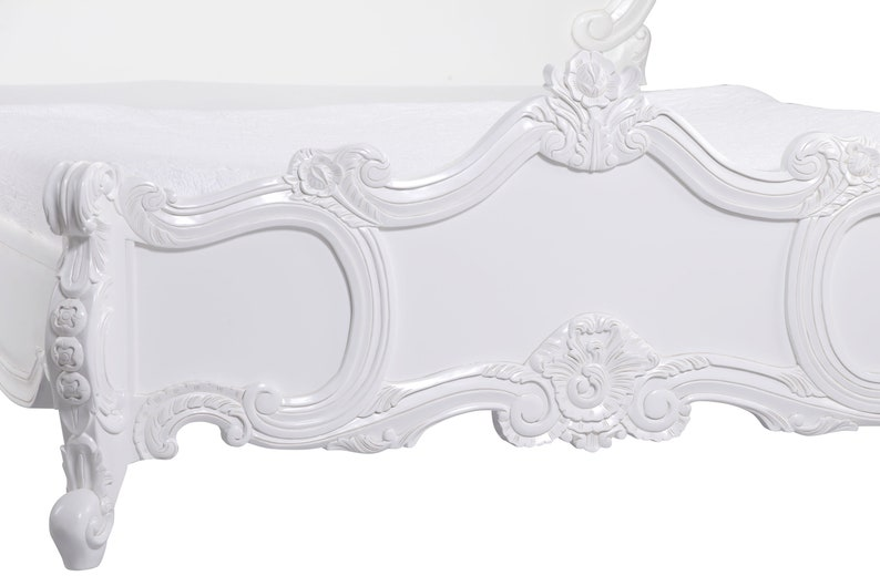 French White Carved Rose Cherub Bed