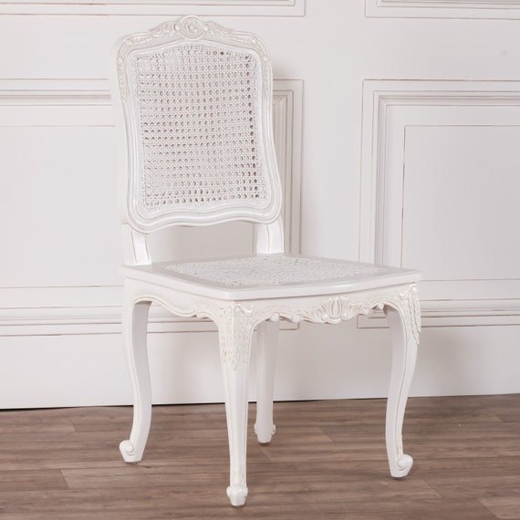 Surprising French Provencal Style White Rattan Dining Chair Ncnpc Chair Design For Home Ncnpcorg