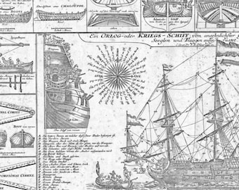 1500's diagram of a Dutch navy warship, Nautical engraving