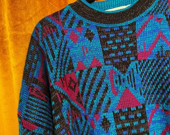 1990s Sweater Vintage 80s Mens Sweater 80s Sweater 90s Sweater Ugly Sweater Geometric XL Oversized 1980s Sweater