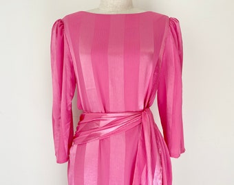 80s Dress 80s Cocktail Dress Pink Dress Embroidered Dress Pale Pink Dress Vintage Dress Dress Size 6 80s Costume Caron Petite